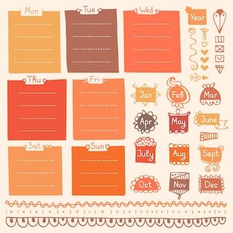 Doodle marcos y elementos para cuaderno, diario y planificador.