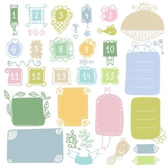 Doodle marcos y elementos para diario de balas, cuaderno, diario o planificador