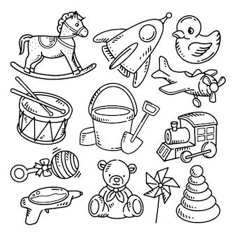 Doodle niños juguetes icono elementos ilustración