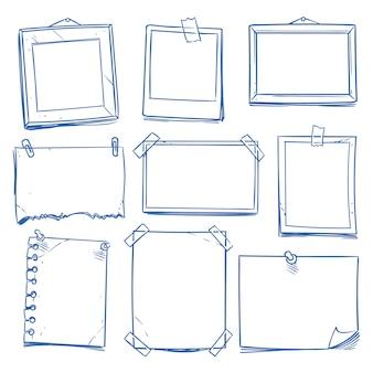 Doodle nota en blanco, papel de carta