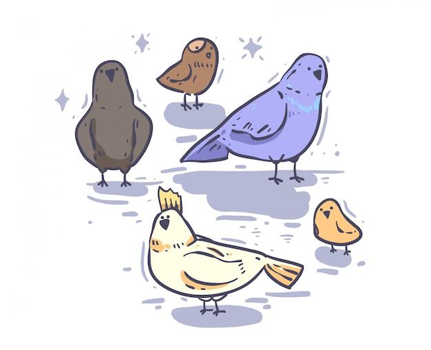 Doodle de pájaro de estilo de dibujos animados. ilustración de vector de pájaro