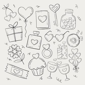 Doodle paquete de elementos del día de san valentín