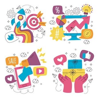 Doodle paquete de pegatinas de marketing dibujadas a mano