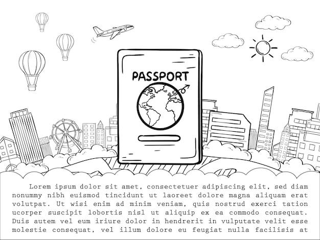 Doodle pasaporte y cheque de avión punto de viaje alrededor del concepto del mundo