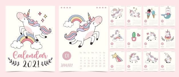 Doodle pastel calendar set 2021 con unicornio, arcoiris, helado para niños. se puede utilizar para imprimir gráficos
