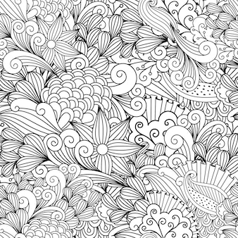 Doodle patrón decorativo floral