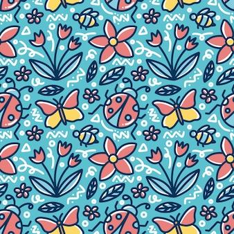 Doodle patrón de dibujo a mano de primavera con iconos y elementos de diseño