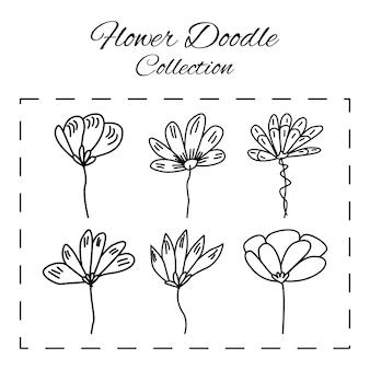 Doodle patrón floral de flores y fondo