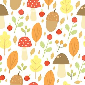 Doodle patrón de otoño