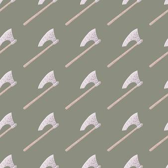 Doodle de patrones sin fisuras con arma estilizada silueta de hacha vikinga