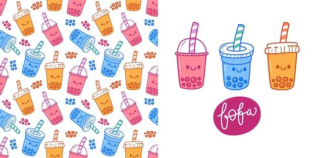 Doodle de patrones sin fisuras de la bebida de té de burbujas boba.