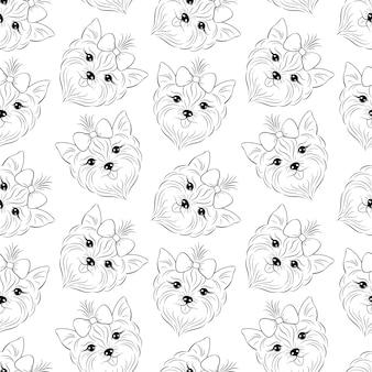 Doodle de patrones sin fisuras con cabeza de perro