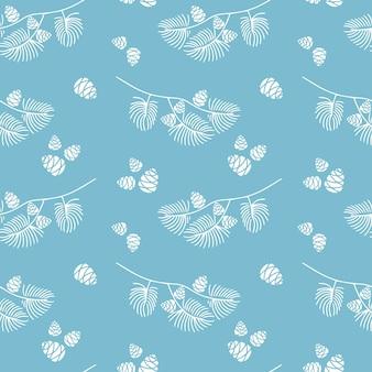 Doodle de patrones sin fisuras dibujados a mano de rama de abeto con conos aislados sobre fondo azul