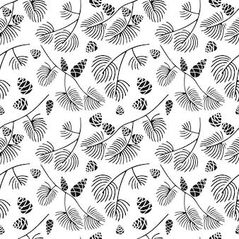 Doodle de patrones sin fisuras dibujados a mano de rama de abeto con conos aislados sobre fondo blanco