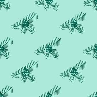 Doodle de patrones sin fisuras dibujados a mano de rama de abeto con conos aislados sobre fondo verde