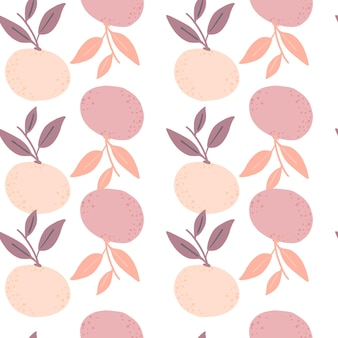 Doodle de patrones sin fisuras con formas de siluetas de mandarina rosa