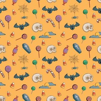 Doodle de patrones sin fisuras de los iconos de halloween