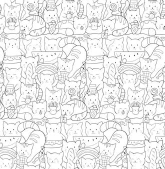 Doodle de patrones sin fisuras con lindos gatos kawaii. gatitos con comida rápida y dulces.