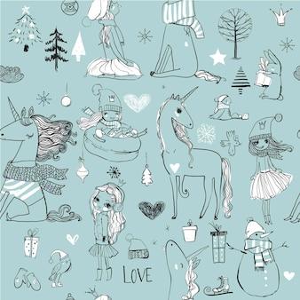 Doodle de patrones sin fisuras con princesa dibujada a mano de invierno con unicornio