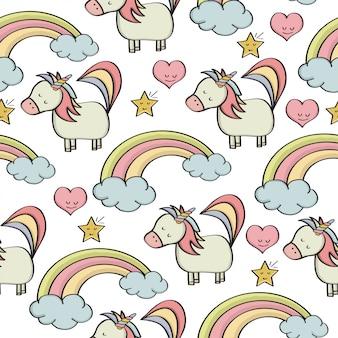 Doodle de patrones sin fisuras con unicornios