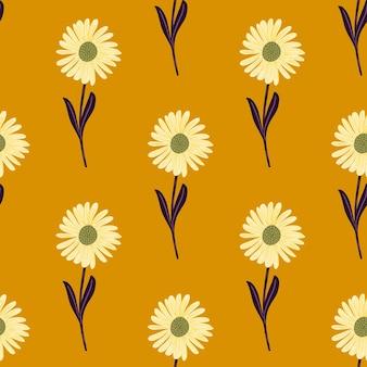 Doodle de patrones sin fisuras de verano con adornos de elementos de flores de crisantemo. fondo naranja.