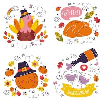 Doodle pegatinas de acción de gracias dibujadas a mano