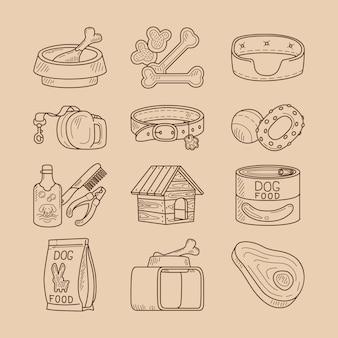Doodle de perro señales de comida y juguetes.