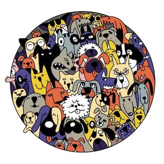 Doodle perros enfrenta fondo colorido, ilustración dibujada a mano de doodle