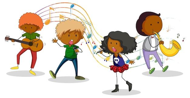 Doodle personaje de dibujos animados con banda de música sobre fondo blanco