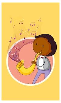 Doodle personaje de dibujos animados de un hombre tocando el saxofón con símbolos de melodía musical