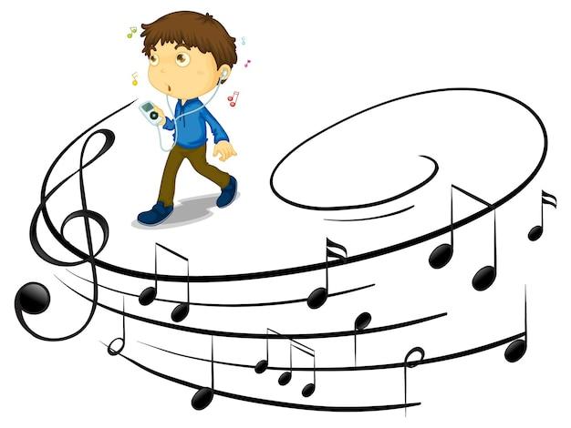 Doodle personaje de dibujos animados de un joven escuchando música con símbolos de melodía musical