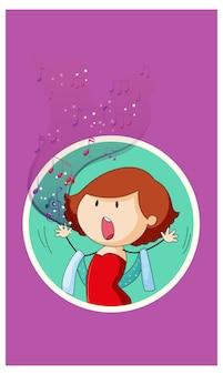 Doodle personaje de dibujos animados de una mujer cantante cantando con símbolos de melodía musical
