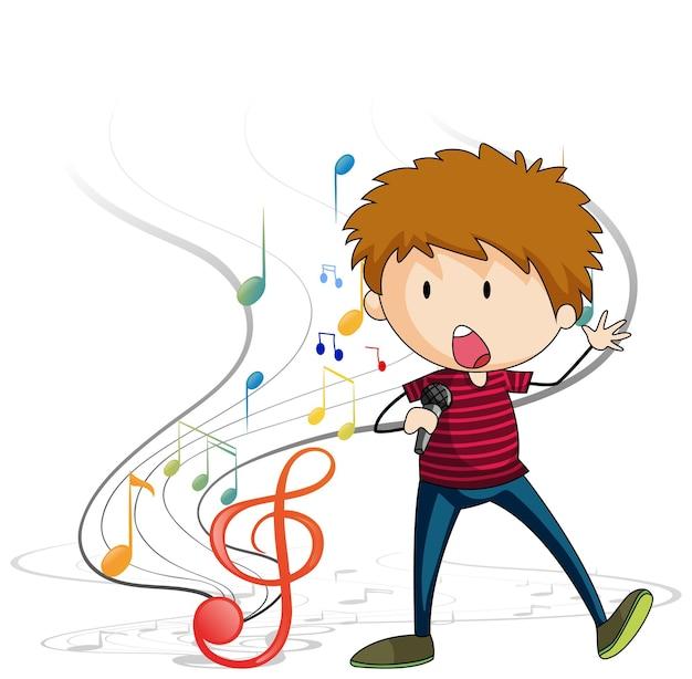 Doodle personaje de dibujos animados de un niño cantante cantando con símbolos de melodía musical