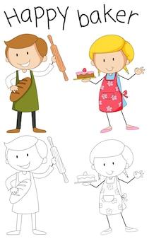 Doodle personaje panadero sobre fondo blanco