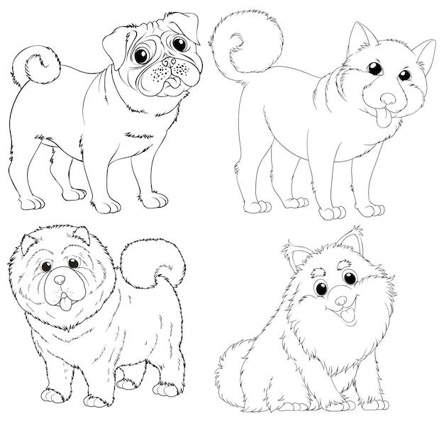 Doodle de personajes de animales para perros.