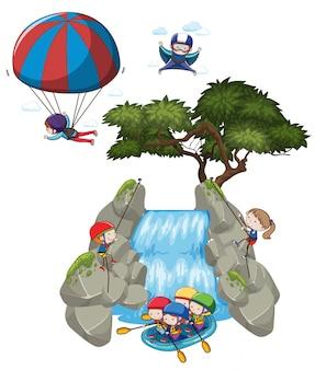 Doodle personas y actividades extremas al aire libre