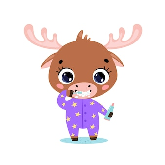 Doodle plano lindo bebé de dibujos animados alces cepillarse los dientes. los animales se cepillan los dientes.