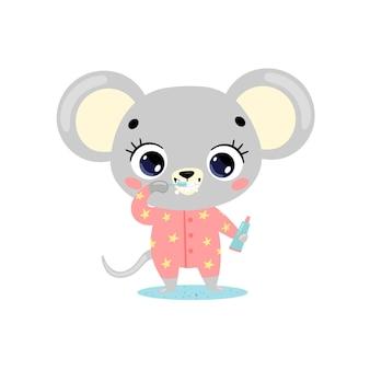 Doodle plano lindo ratón de bebé de dibujos animados cepillarse los dientes. los animales se cepillan los dientes.