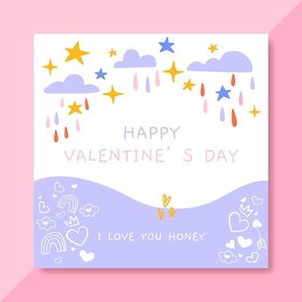 Doodle plantilla de publicación de facebook del día de san valentín