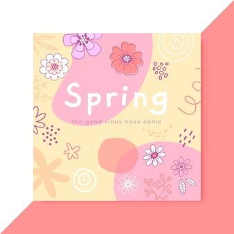 Doodle publicación de instagram de primavera infantil