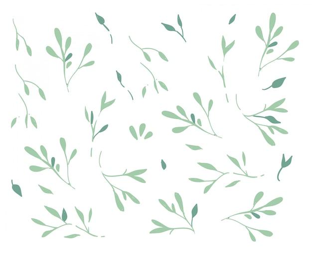 Doodle de rama de árbol de estilo de dibujos animados.
