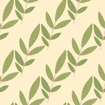 Doodle ramitas de hierbas con guiones sobre fondo claro. patrón sin costuras. telón de fondo decorativo para tela, estampado textil, envoltura, cubierta. ilustración