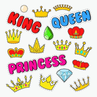 Doodle real con conjunto de coronas de oro y gemas
