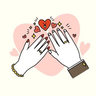 Doodle de recién casados adorable y encantador