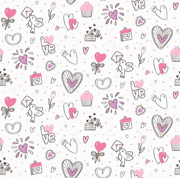 Doodle de san valentín sin costuras