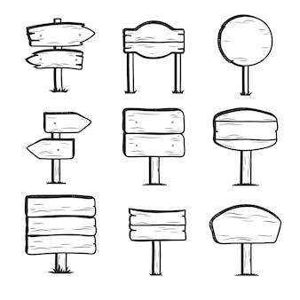 Doodle señales de carretera de madera, colección de señales de dirección dibujadas a mano