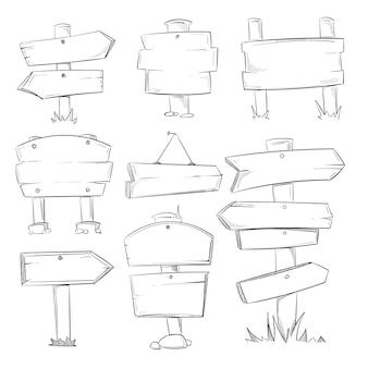 Doodle signos de madera, flechas de dirección de madera dibujados a mano set