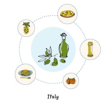 Doodle de símbolos italianos famosos