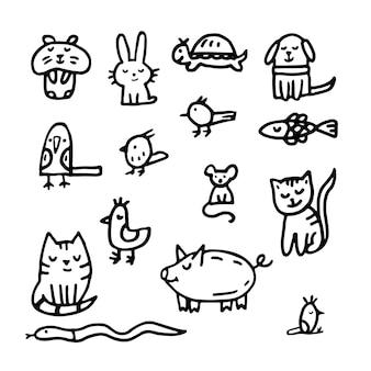Doodle sobre veterinaria y tienda de mascotas. gato, perro, hámster, loro, conejo, cerdo, liebre, pez, serpiente, ratón, rata