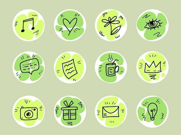 Doodle social media destaca los colores verdes